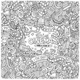 Cartoon vector hand-drawn Cinema Doodle frame. Design background with movie objects and symbols border Stock Photography