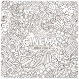 Cartoon vector hand-drawn Cinema Doodle frame Royalty Free Stock Images