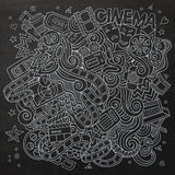 Cartoon vector hand-drawn Cinema Doodle. Sketchy Stock Images