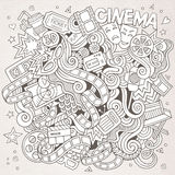 Cartoon vector hand-drawn Cinema Doodle. Sketchy Royalty Free Stock Images