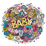 Cartoon vector hand drawn Doodle Baby illustration Stock Image