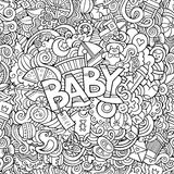 Cartoon vector hand drawn Doodle Baby illustration Stock Images
