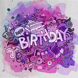 Cartoon vector hand drawn Doodle Birthday illustration Stock Images