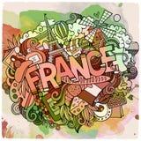 Cartoon vector hand drawn Doodle France illustration Stock Image