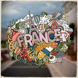 Cartoon vector hand drawn Doodle France word illustration Royalty Free Stock Images