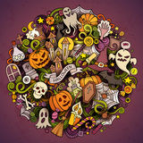 Cartoon vector hand drawn Doodle Halloween circle illustration Stock Photos
