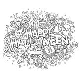 Cartoon vector hand drawn Doodle Happy Halloween Stock Images
