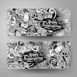 Cartoon vector hand-drawn Doodle Happy Thanksgiving Day cards Royalty Free Stock Image