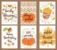 Cartoon vector hand drawn Doodle Happy Thanksgiving Day cards. Vertical banners design templates set Royalty Free Stock Image