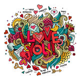 Cartoon vector hand drawn doodle I Love You Royalty Free Stock Photo