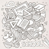 Cartoon vector hand-drawn Doodle on the subject of. Education. Sketchy design background with school objects and symbols Stock Photography