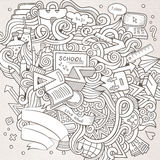 Cartoon vector hand-drawn Doodle on the subject of. Education. Sketchy design background with school objects and symbols Royalty Free Stock Photo