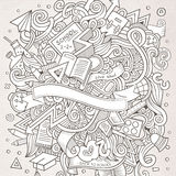 Cartoon vector hand-drawn Doodle on the subject of. Education. Sketchy design background with school objects and symbols Stock Image