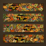 Cartoon vector hand-drawn Doodle on the subject of. Thanksgiving. Horizontal banners design templates set Royalty Free Stock Images