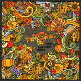 Cartoon vector hand-drawn Doodle Thanksgiving Stock Photography