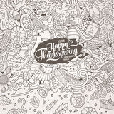 Cartoon vector hand-drawn Doodle Thanksgiving frame. Stock Photography