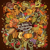 Cartoon vector hand drawn Doodle Thanksgiving Royalty Free Stock Photo