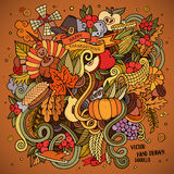 Cartoon vector hand drawn Doodle Thanksgiving Stock Images