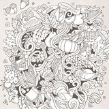 Cartoon vector hand-drawn Doodle Thanksgiving Royalty Free Stock Images