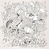 Cartoon vector hand-drawn Doodle Thanksgiving Royalty Free Stock Photos