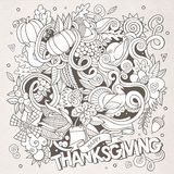 Cartoon vector hand-drawn Doodle Thanksgiving Stock Photo