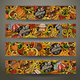 Cartoon vector hand drawn doodles Autumn banners. Cartoon cute colorful vector hand drawn doodles Autumn corporate identity. 4 horizontal banners design Stock Photo