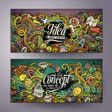Cartoon vector hand drawn doodles Idea banners Stock Photo