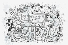 Cartoon vector hand drawn doodles on a school theme. Go back to school Stock Image