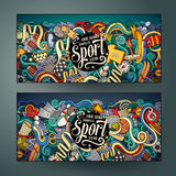 Cartoon vector hand drawn doodles Sport banners Stock Images