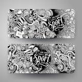 Cartoon vector hand drawn doodles Sport banners Stock Photos