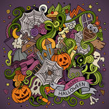 Cartoon vector hand-drawn Doodles on the subject. Of Halloween symbols, food and drinks colorful background Stock Images