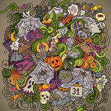 Cartoon vector hand-drawn Doodles on the subject. Of Halloween symbols, food and drinks colorful background Stock Photo