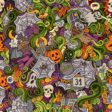 Cartoon vector hand-drawn Doodles on the subject. Of Halloween symbols, food and drinks seamless pattern. Colorful background Royalty Free Stock Photo