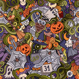 Cartoon vector hand-drawn Doodles. On the subject of Halloween symbols, food and drinks seamless pattern. Colorful background Stock Photo