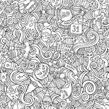 Cartoon vector hand-drawn Doodles on the subject. Of Halloween symbols, food and drinks seamless pattern. Contour background Stock Images