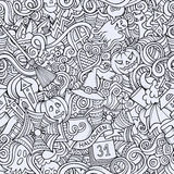 Cartoon vector hand-drawn Doodles on the subject. Of Halloween symbols, food and drinks seamless pattern. Contour background Royalty Free Stock Photo