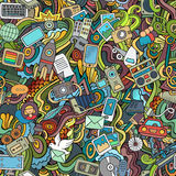 Cartoon vector hand-drawn Doodles on the subject of social media Stock Images