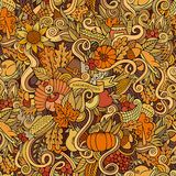 Cartoon vector hand-drawn Doodles on the subject. Of Thanksgiving autumn symbols, food and drinks seamless pattern. Color background Royalty Free Stock Photography
