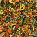 Cartoon vector hand-drawn Doodles on the subject. Of Thanksgiving autumn symbols, food and drinks seamless pattern. Color background Royalty Free Stock Images