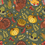 Cartoon vector hand-drawn Doodles on the subject of Thanksgiving symbol Royalty Free Stock Photography