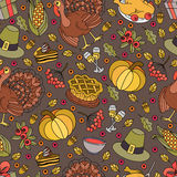 Cartoon vector hand-drawn Doodles on the subject of Thanksgiving symbol Royalty Free Stock Images