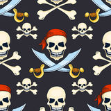 Cartoon vector hand-drawn pirate skulls seamless pattern Royalty Free Stock Images