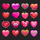 Cartoon vector heart icons set. Cool game assets collection for gui design Stock Photos
