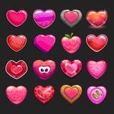 Cartoon vector heart icons set Stock Photos
