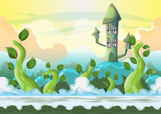 Cartoon vector heaven landscape with separated layers Stock Photo