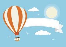 Cartoon Vector Hot Air Balloon with Banner. A hot air balloon with banner, clouds and birds royalty free illustration
