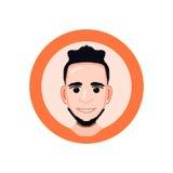 Cartoon, vector human head, icon, face, illustration Royalty Free Stock Image