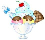 Cartoon Vector Ice Cream Sundae. Vector Illustration of a cartoon ice cream sundae Stock Photo