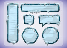 Cartoon vector ice labels for game and animation Royalty Free Stock Image
