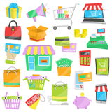 Cartoon vector icons for sales and shopping Stock Photos